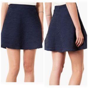 Topshop Navy Textured Skater Skirt